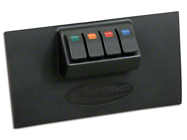 Daystar Lower Switch Panel w/ 4 Rocker Switches - Black (07-17 Wrangler JK)