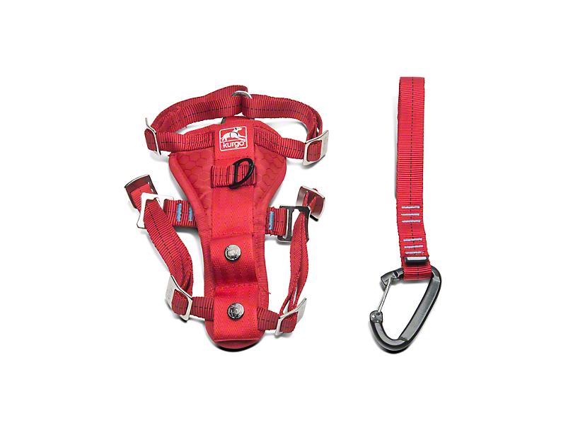 Kurgo Enhanced Strength TruFit Dog Car Harness - Red (87-18 Wrangler YJ, TJ & JK)