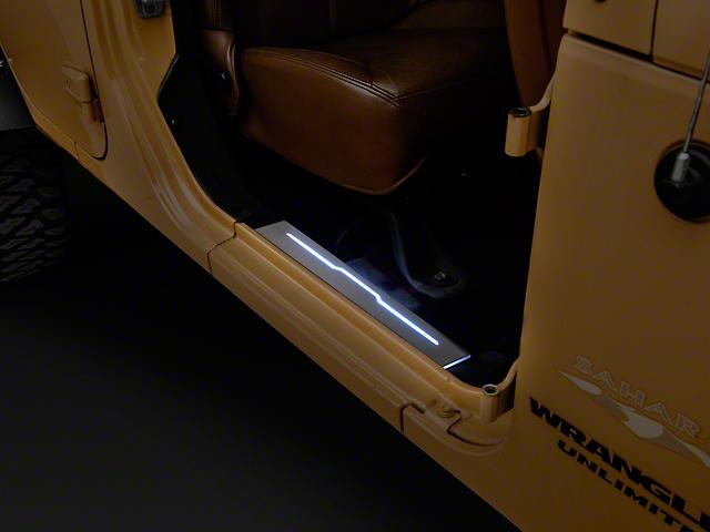 Carrichs Aniglo Illuminated Front Door Sill Plates (07-18 Wrangler JK)  sc 1 st  Extreme Terrain & Carrichs Wrangler Aniglo Illuminated Front Door Sill Plates SPJP731 ...