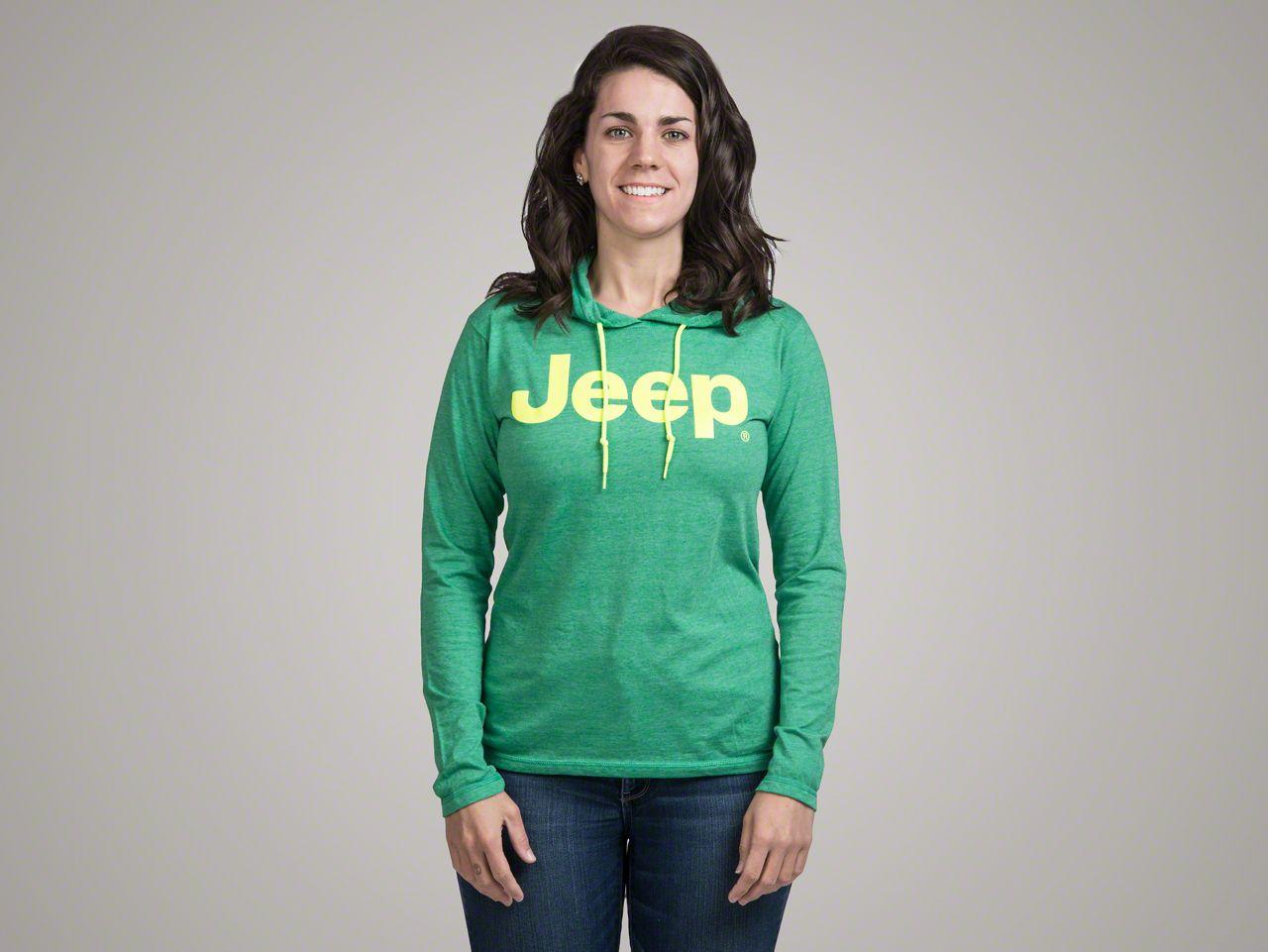 Ladies Bright Green Hooded T-Shirt - Medium