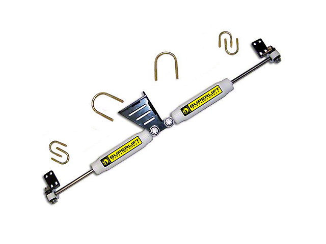 SuperLift Superide High Clearance Dual Steering Stabilizer Kit for 1.50+ Inch Lift (07-18 Jeep Wrangler JK)