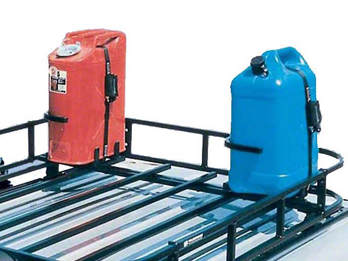 Garvin Gas/Water Can Holder for Roof Rack (87-18 Jeep Wrangler YJ, TJ, JK & JL)