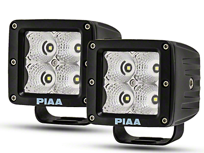 PIAA 3 in. Quad Series LED Cube Lights - Flood Beam - Pair (87-18 Wrangler YJ, TJ & JK)