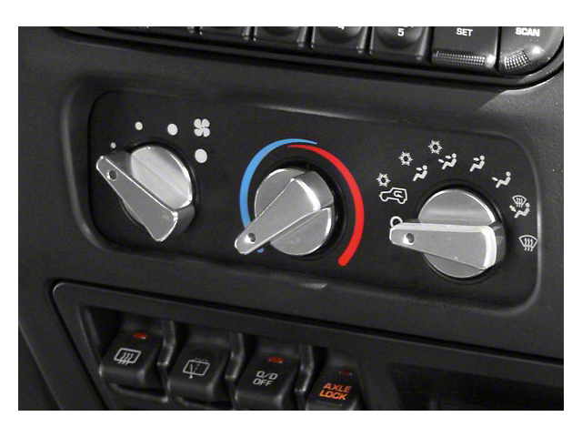 Rugged Ridge Billet Aluminum 3 Piece Climate Control Knob Set w/ Blue Indicators (99-06 Wrangler TJ)