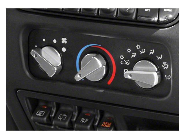 Rugged Ridge Billet Aluminum Climate Control Knobs; Blue Indicators (99-06 Jeep Wrangler TJ)