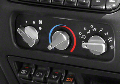 Rugged Ridge Billet Aluminum 3 Piece Climate Control Knob Set w/ Blue Indicators (99-06 Jeep Wrangler TJ)