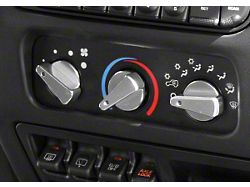 Rugged Ridge Billet Aluminum 3 Piece Climate Control Knob Set w/ Blue Indicators (99-06 Jeep Wrangler TJ)