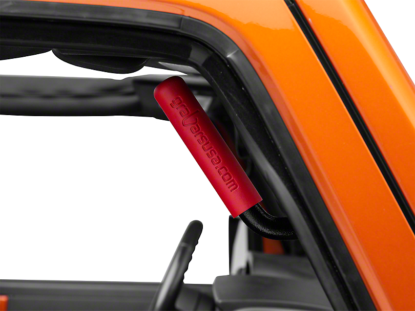 GraBars Front & Rear Grab Handles w/ Red Grips (07-18 Jeep Wrangler JK 4 Door)