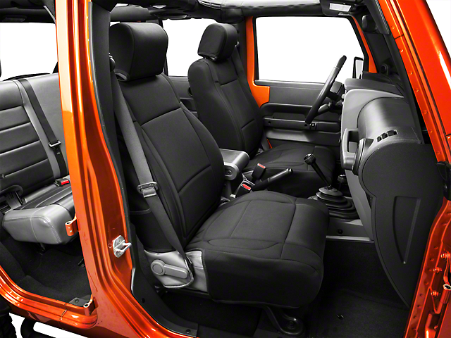 Rugged Ridge Neoprene Front Seat Covers - Black (07-10 Jeep Wrangler JK w/ Factory Seat Air Bags)