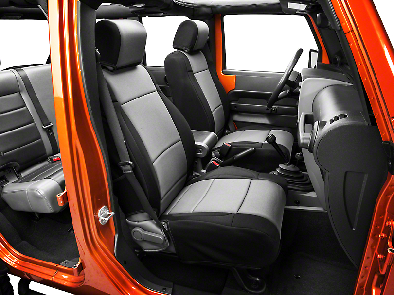 Rugged Ridge Neoprene Front Seat Covers - Black/Gray (07-10 Wrangler JK w/ Factory Seat Air Bags)