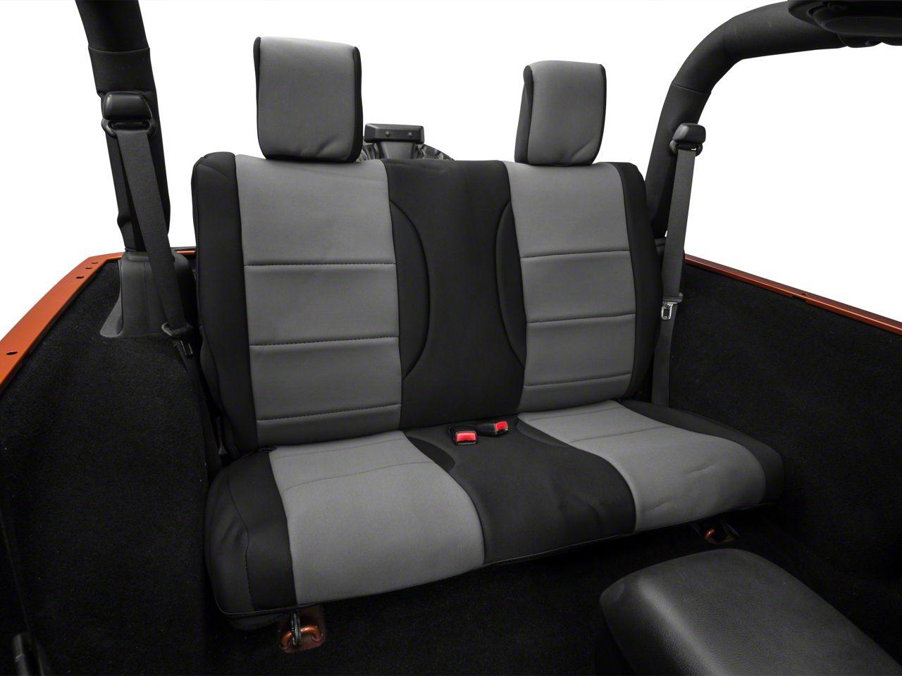 Add Rugged Ridge Neoprene Rear Seat Cover - Black/Gray (07-17 Wrangler JK 4 Door)