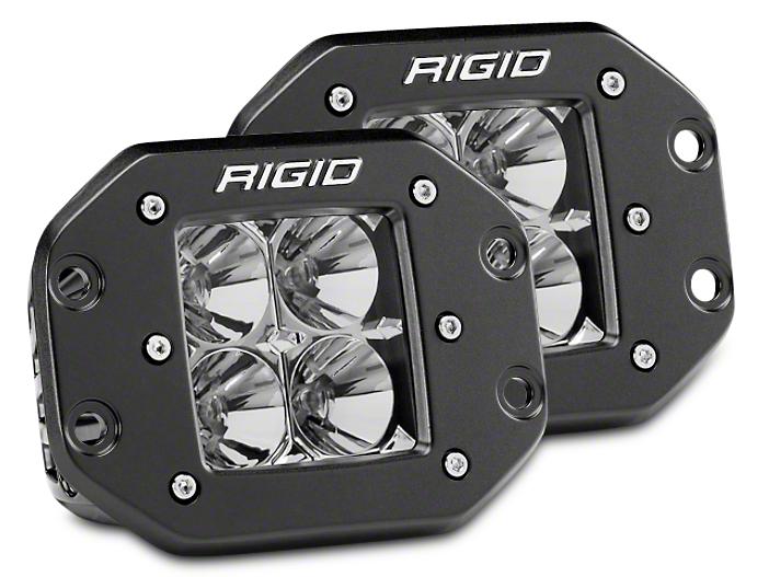 Rigid Industries D-Series Flush Mount LED Cube Lights - Flood Beam - Pair (87-18 Wrangler YJ, TJ & JK)