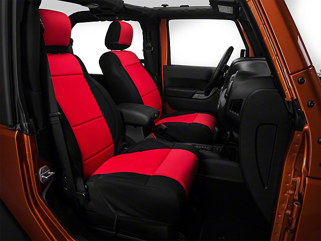 Rugged Ridge Neoprene Front Seat Covers; Black/Red (07-10 Jeep Wrangler JK)