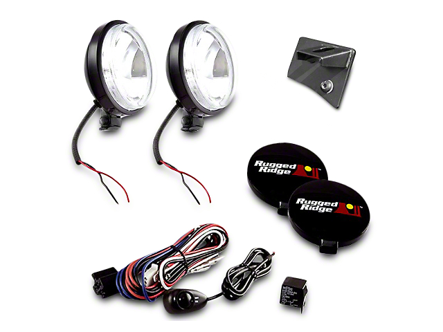Rugged Ridge 6 in. Slim Round Halogen Fog Lights w/ Windshield Mounting Brackets (07-18 Jeep Wrangler JK)