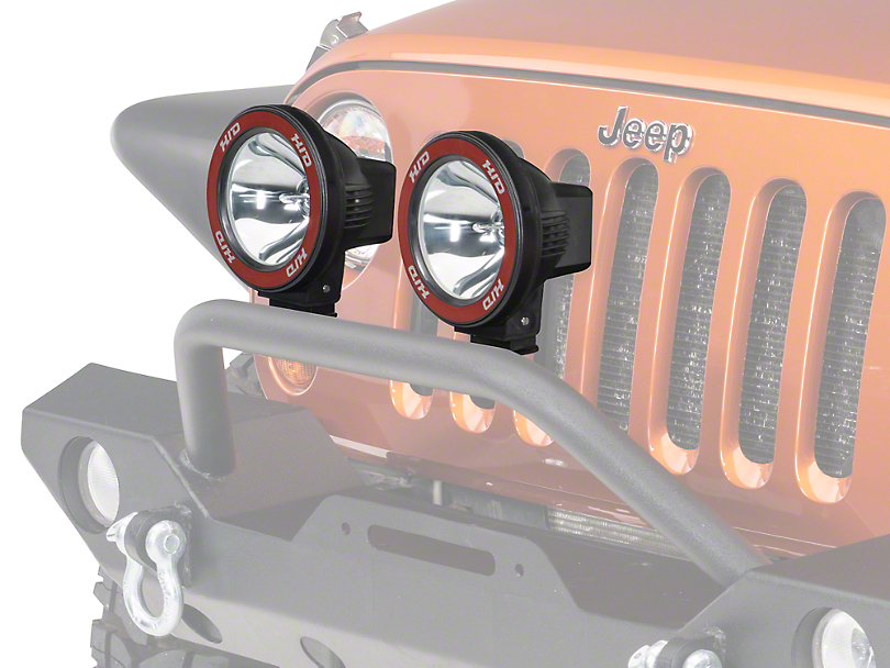 Rugged Ridge 5 in. Round HID Off-Road Fog Lights w/ Black Composite Housings - Pair (87-18 Wrangler YJ, TJ & JK)