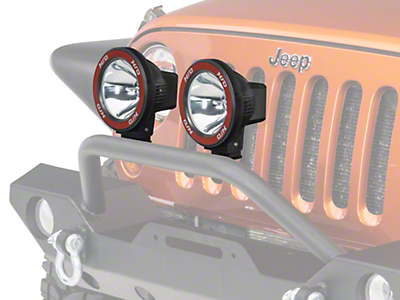 Rugged Ridge 5 in. Round HID Off-Road Fog Lights w/ Black Composite Housings - Pair (87-18 Jeep Wrangler YJ, TJ, JK & JL)