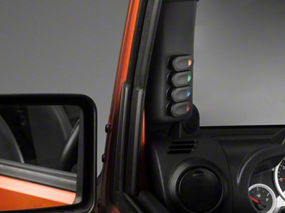 Rugged Ridge Black A-Pillar Switch Pod w/ 4 Rocker Switches - Left Hand Drive (07-10 Jeep Wrangler JK)