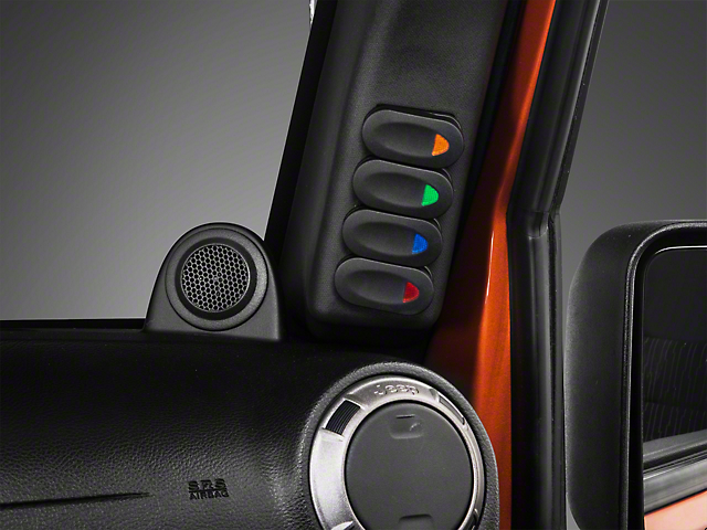 Rugged Ridge Black A-Pillar Switch Pod w/ 4 Rocker Switches - Right Hand Drive (11-18 Jeep Wrangler JK)