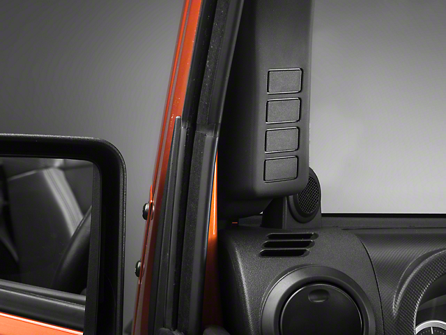 Rugged Ridge Black A-Pillar Switch Pod - Left Hand Drive (07-10 Jeep Wrangler JK)