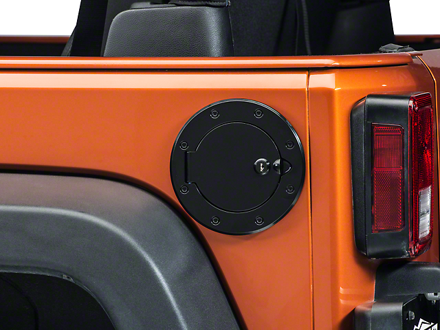 Rugged Ridge Black Aluminum Locking Fuel Cover (07-18 Jeep Wrangler JK)