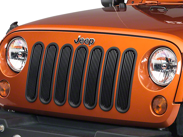 Rugged Ridge Billet Style Grille Inserts; Black (07-18 Jeep Wrangler JK)
