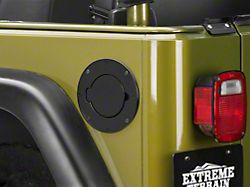 Rugged Ridge Non-Locking Fuel Door Cover; Black (97-06 Jeep Wrangler TJ)