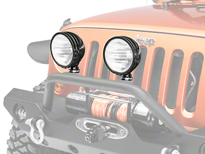 KC HiLiTES 6 in. Black Daylighter Round Halogen Light - Flood Beam (87-18 Wrangler YJ, TJ & JK)
