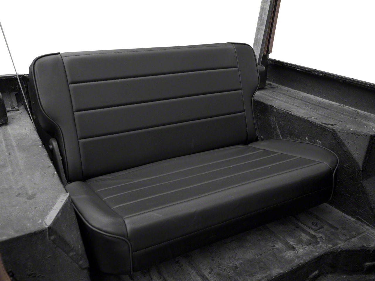 Smittybilt Rear Fold & Tumble Seat - Black Denim (87-95 Jeep Wrangler YJ)