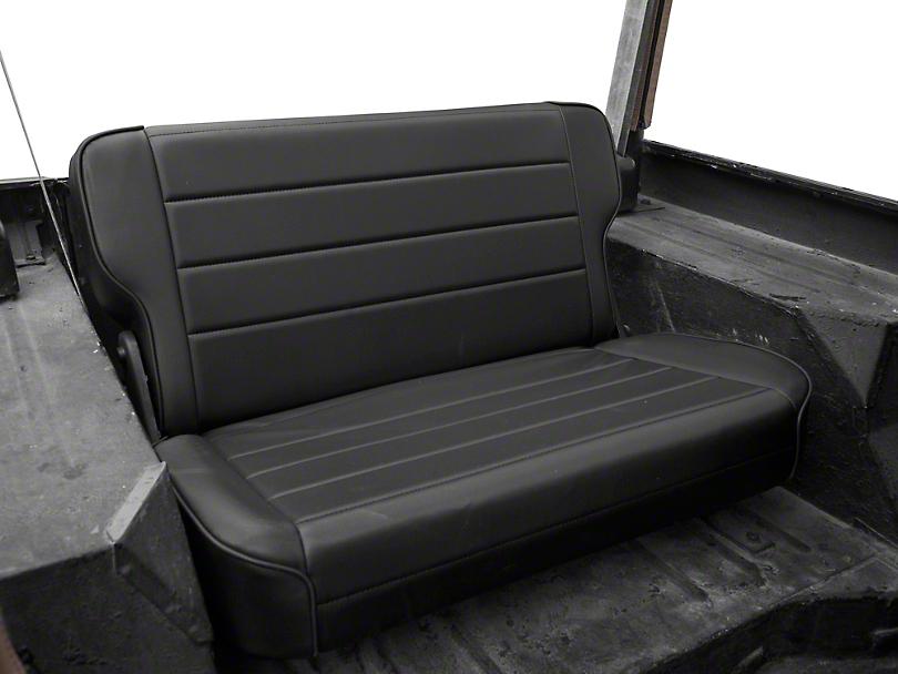 Smittybilt Rear Fold & Tumble Seat; Black Denim (87-95 Jeep Wrangler YJ)