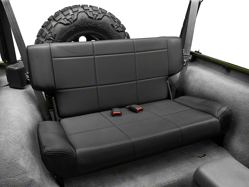 Smittybilt Vinyl Fold & Tumble Rear Seat - Black Denim (97-06 Jeep Wrangler TJ)