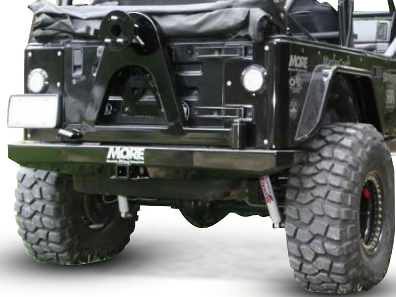 M.O.R.E. Rock Proof Rear Bumper w/ Tire Carrier - Bare Steel (97-06 Jeep Wrangler TJ)
