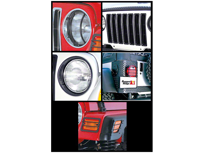 Rugged Ridge 17-Piece Euro Light Guard Kit - Black (97-06 Jeep Wrangler TJ)