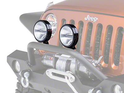 KC HiLiTES 6 in. Black SlimLite Halogen Lights - Fog Beam - Pair (87-18 Wrangler YJ, TJ, JK & JL)