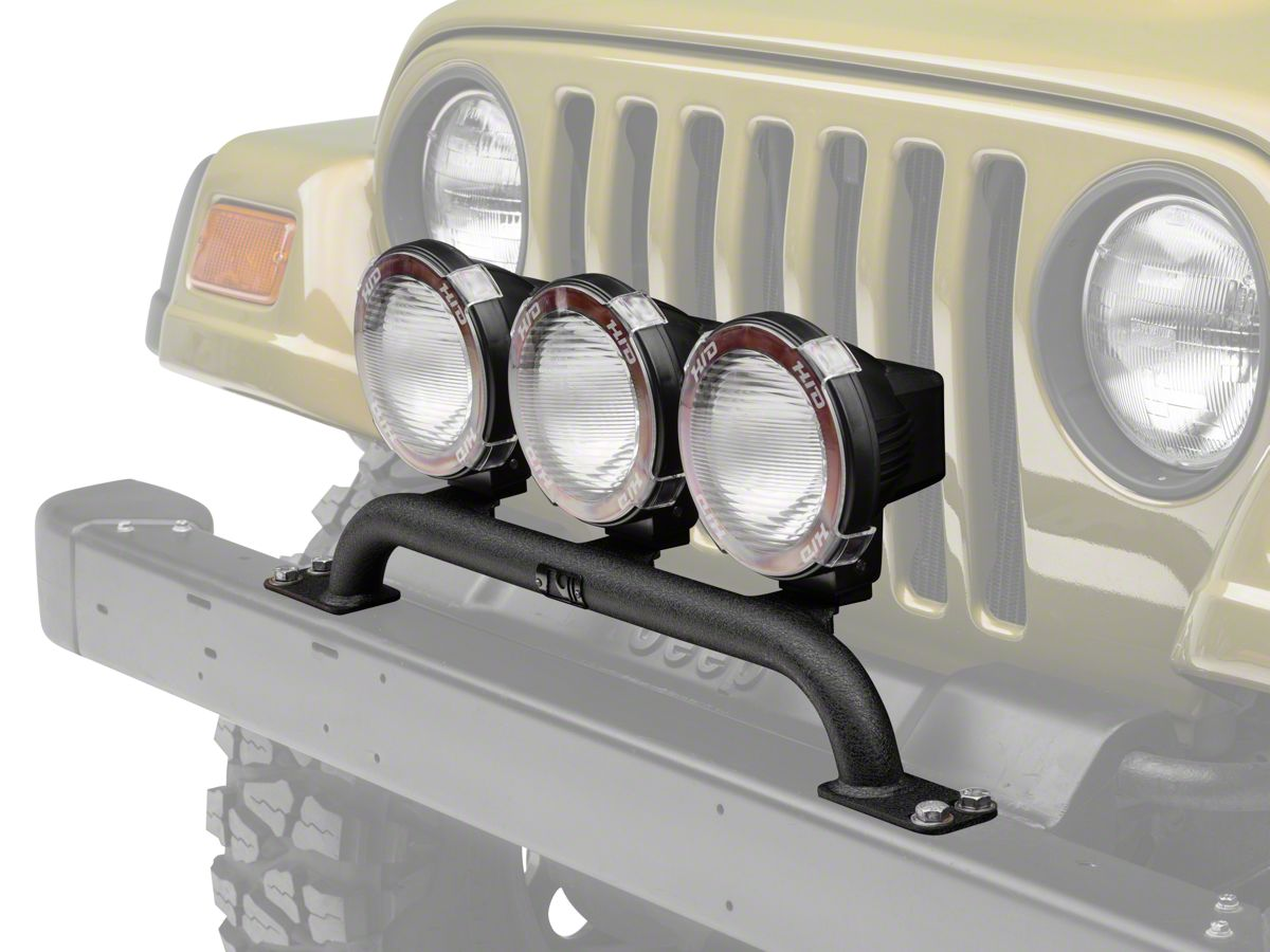Rugged Ridge 5 In Round Hid Off Road Fog Lights W Front Per Light Bar 97 06 Jeep Wrangler Tj