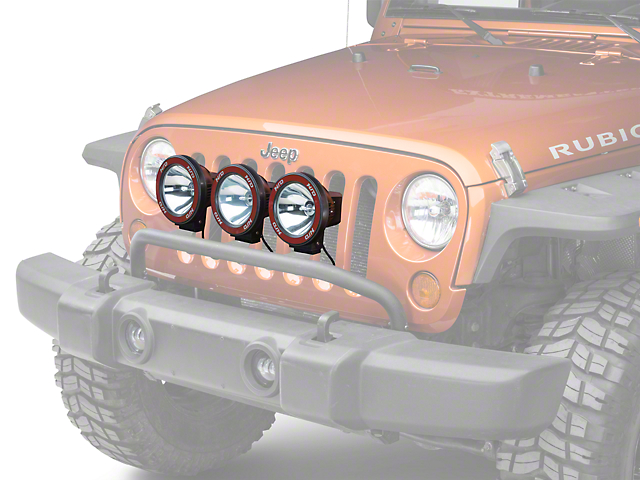 Rugged Ridge 5-Inch Round HID Off-Road Fog Lights with Front Bumper Light Bar (07-18 Jeep Wrangler JK)