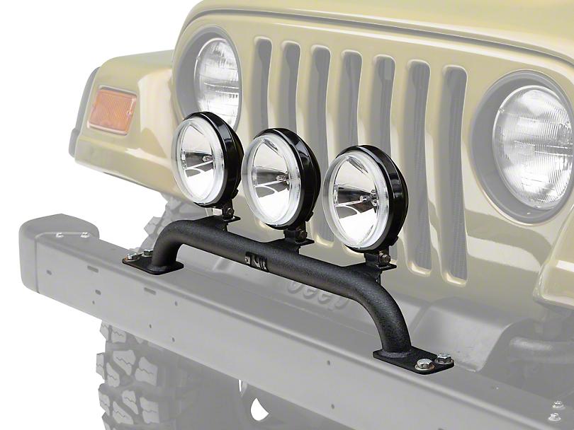 Rugged Ridge 5 in. Round Halogen Off-Road Fog Lights w/ Front Bumper Light Bar (97-06 Jeep Wrangler TJ)