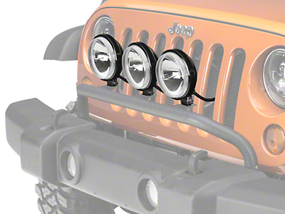 Rugged Ridge 5 in. Round Halogen Off-Road Fog Lights w/ Front Bumper Light Bar (07-18 Wrangler JK; 2018 Wrangler JL)