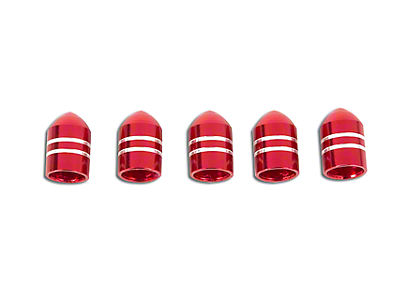 Alloy USA Red Aluminum Valve Stem Caps - Set of 5 (87-18 Jeep Wrangler YJ, TJ & JK)