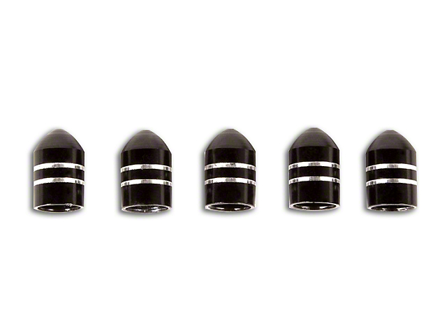 Rugged Ridge Black Aluminum Valve Stem Caps - Set of 5 (87-19 Jeep Wrangler YJ, TJ, JK & JL)