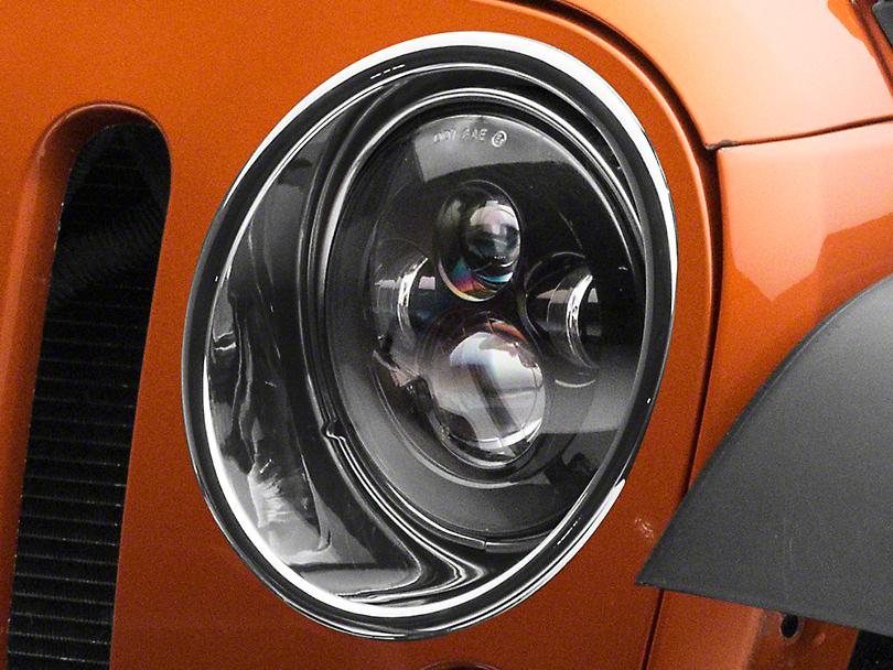 RedRock 4x4 Headlight Bezels - Chrome (07-18 Jeep Wrangler JK)