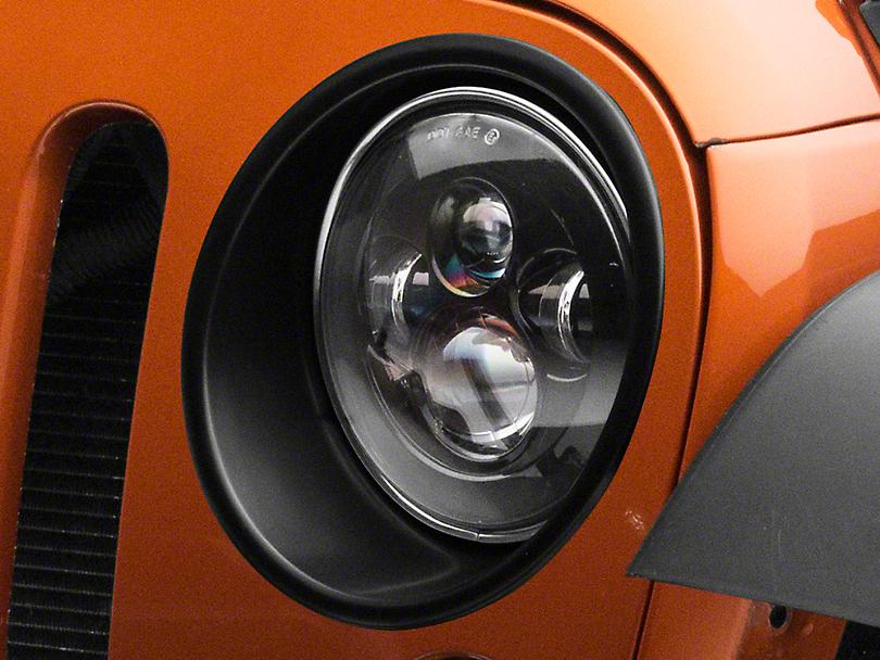 RedRock 4x4 Headlight Bezels - Matte Black (07-18 Jeep Wrangler JK)