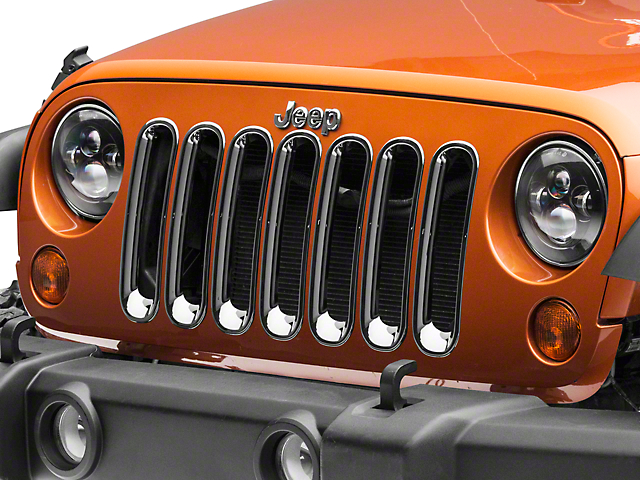 RedRock 4x4 Grille Inserts; Chrome (07-18 Jeep Wrangler JK)