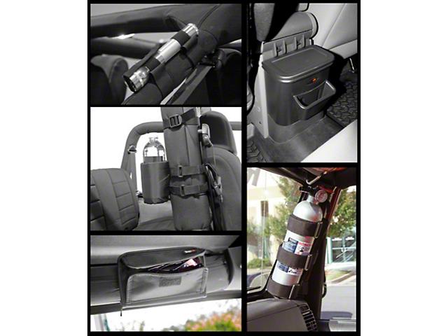 Rugged Ridge Interior Roll Bar Storage Kit; Black (07-10 Jeep Wrangler JK)