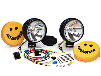 KC HiLiTES 6 in. Black Daylighter Round Halogen Lights - 100W Spot Beam - Pair (87-18 Wrangler YJ, TJ & JK)