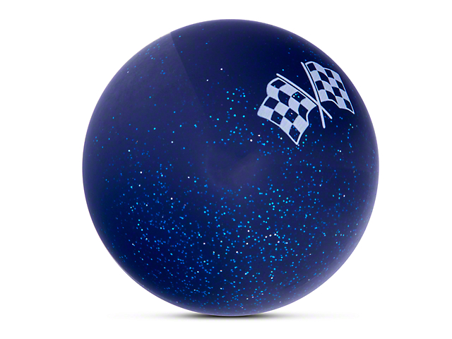 Alterum White Checkered Flags Blue Shift Knob with Metal Flake (87-18 Jeep Wrangler YJ, TJ & JK)
