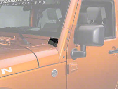 Rugged Ridge Windshield Mounted Light Mounting Brackets - Textured Black (07-18 Jeep Wrangler JK)