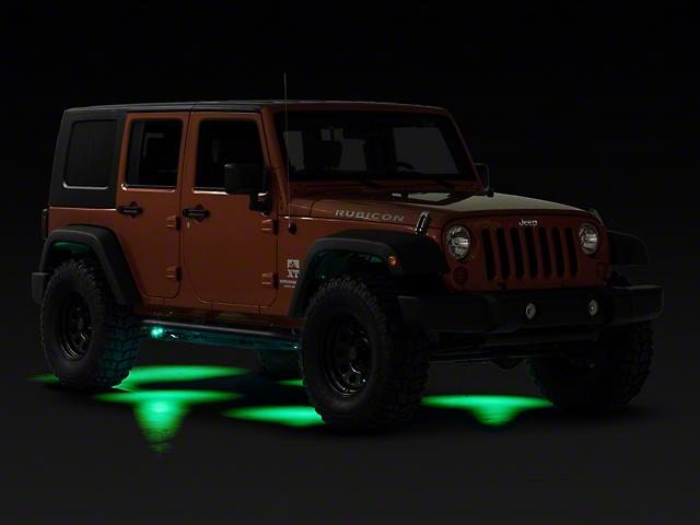 KC HiLiTES 6 Cyclone LED Rock Light Kit; Green (07-20 Jeep Wrangler JK & JL)
