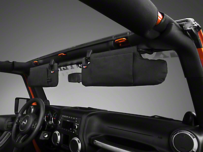 Rugged Ridge Black Sun Visor Organizer - Pair (10-18 Wrangler JK)
