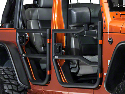 Rugged Ridge Black Textured Rear Tube Doors - Pair (07-18 Wrangler JK 4 Door)