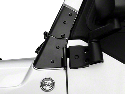 Rugged Ridge Black Windshield Hinge - Pair (97-06 Wrangler TJ)